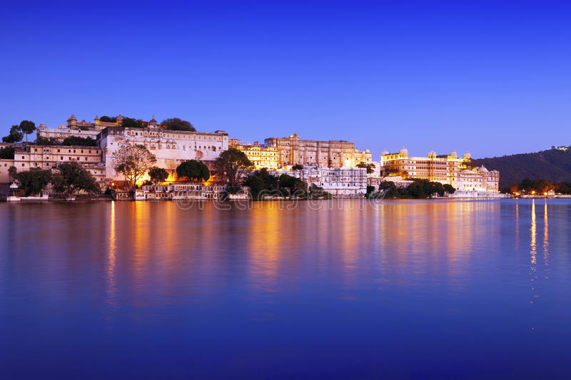City Palace at night, Udaipur, Rajasthan, India. royalty free stock image