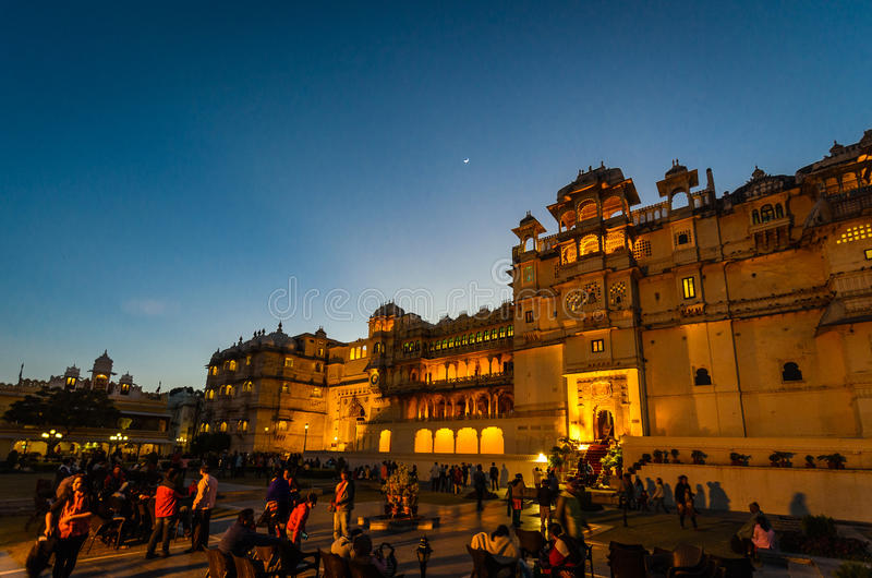 City Palace Udaipur (in evening), India stock images