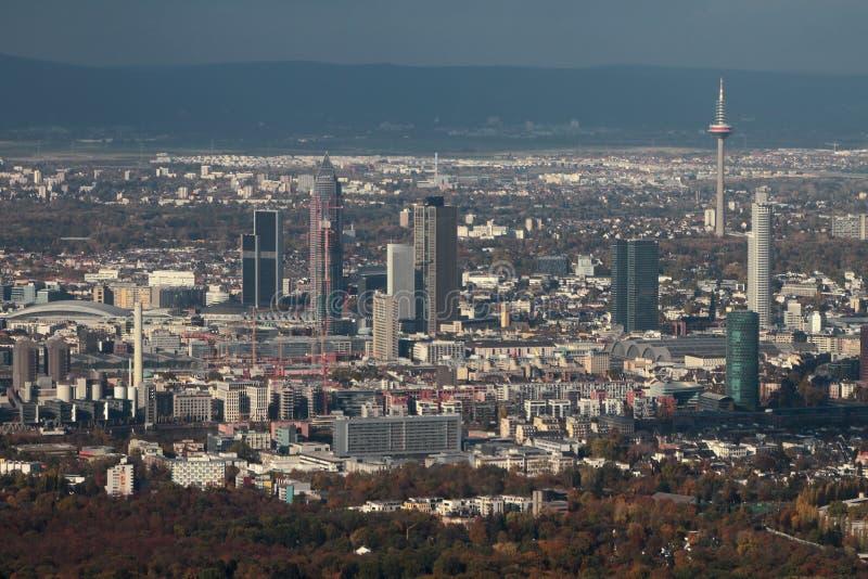 City panorama, aerial photograph. Frankfurt am Main, Germany. 2018-11-02 royalty free stock photo