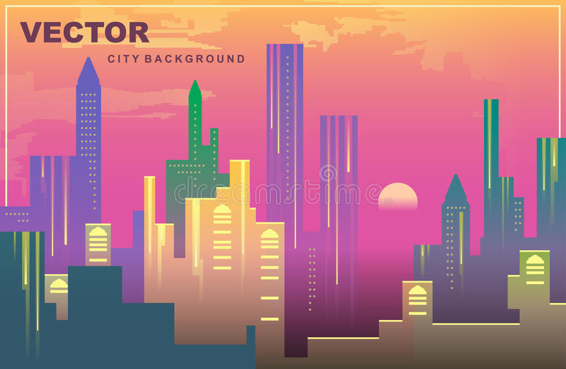 City panorama of New York in the evening. Vector background. royalty free illustration