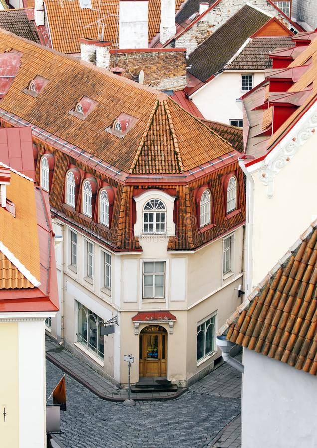 City panorama from an observation deck of Old city roofs. Tallinn. Estonia stock photography