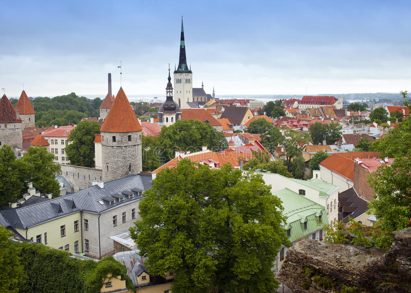 City panorama from an observation deck of Old city`s roofs. Tallinn. Estonia. royalty free stock photo