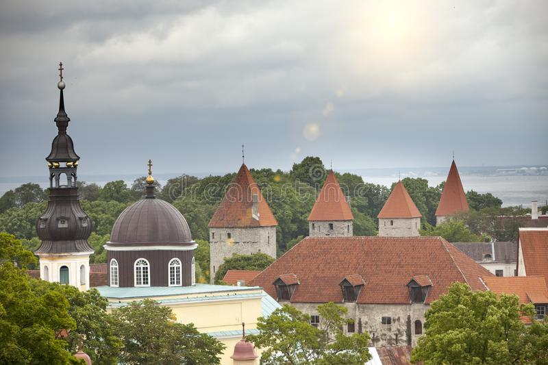 City panorama from an observation deck of Old city spikes of churches and ancient towers. Tallinn. Estonia.  royalty free stock photography