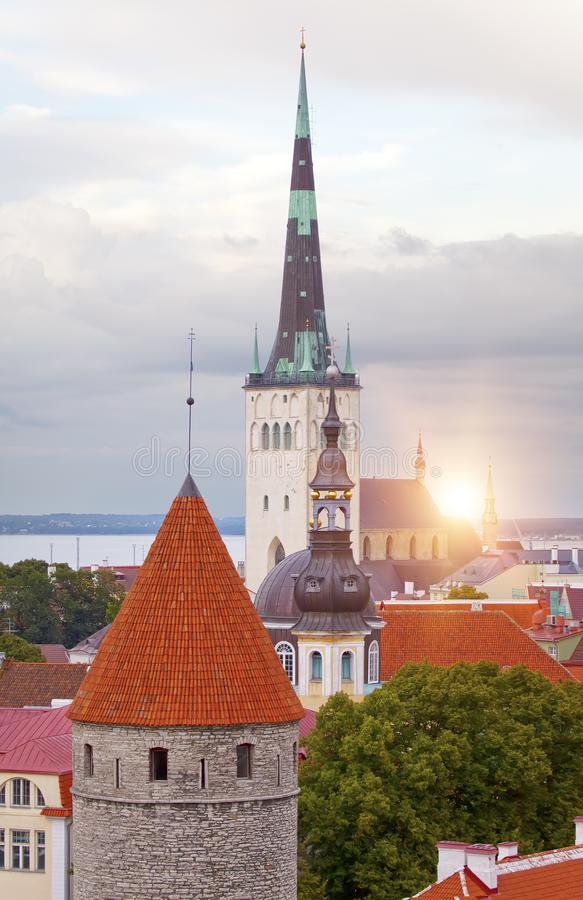 City panorama from an observation deck of Old city roofs. Tallinn. Estonia royalty free stock photography