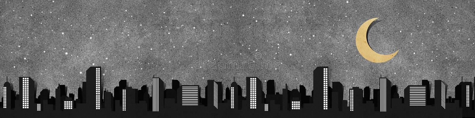 Download City Panorama Silhouettes Recycled Paper Craft . Stock Illustration - Image: 19775159