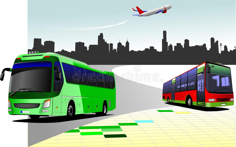 City panorama with two buses and plane images stock illustration