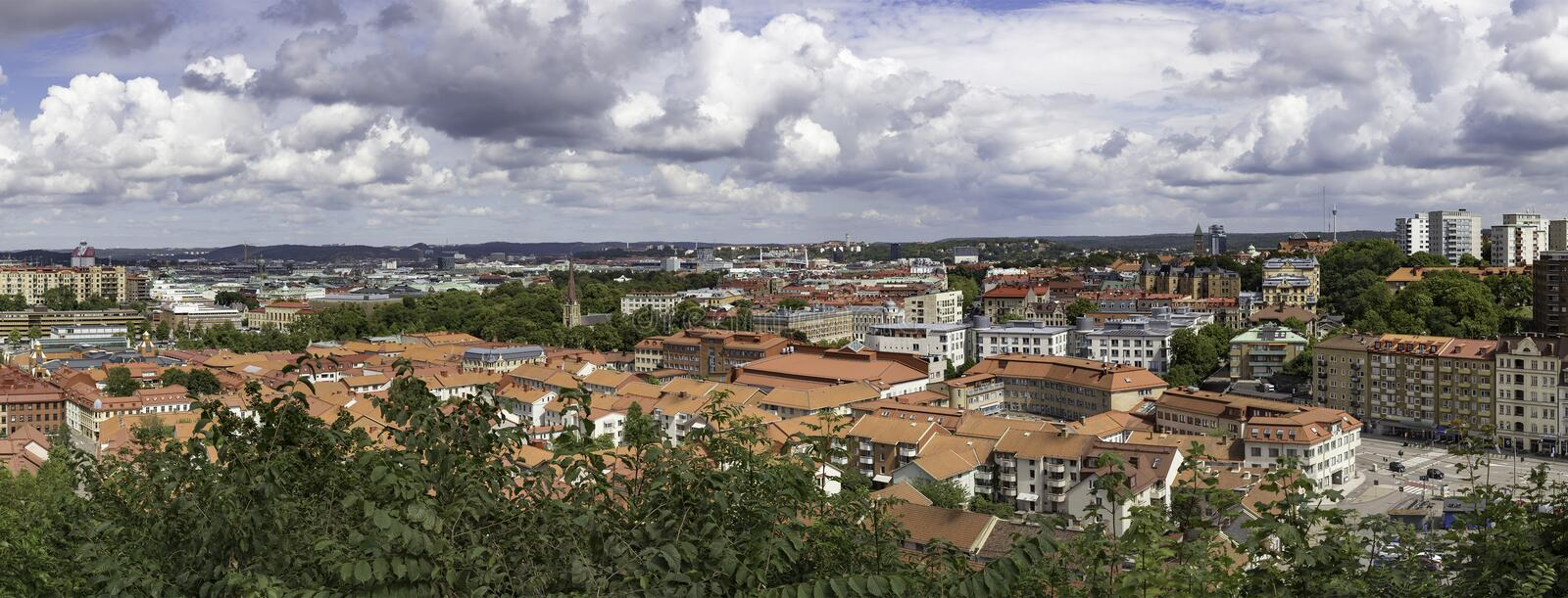 City panorama with view over Goteborg Sweden. Beautiful panoramic view over the city of Goteborg Sweden on a summer day with a cloudy sky stock image
