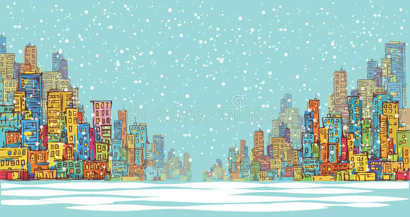 City panorama, winter snow landscape in daylight, hand drawn cityscape, vector drawing architecture illustration royalty free illustration