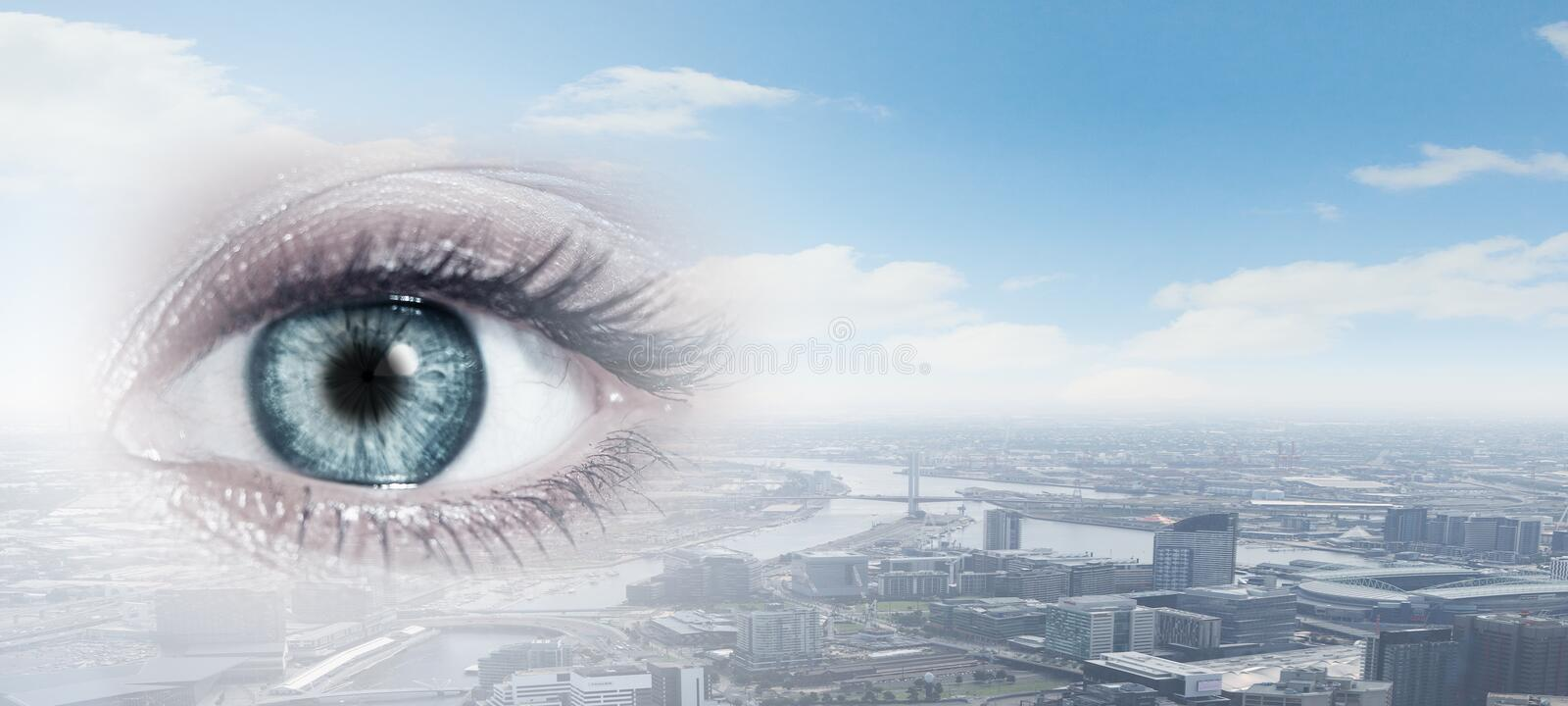 City panoramic view. Bird eye view of modern city with human female eye stock illustration