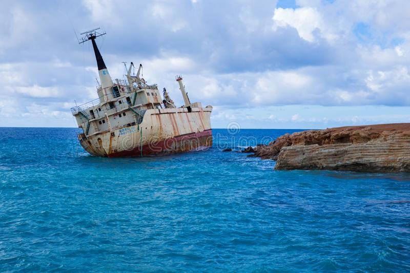 Old ship wreck and blue water beach. Travel photo 2018, december. City Paphos, Cyprus. Old ship wreck and blue water beach. Travel photo 2018, december royalty free stock images