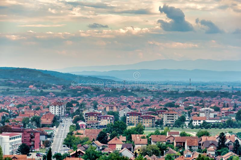 City of Paracin, Serbia. East side of the City of Paracin in central east Serbia seen from the hill called Karadjordjevo Brdo royalty free stock photo