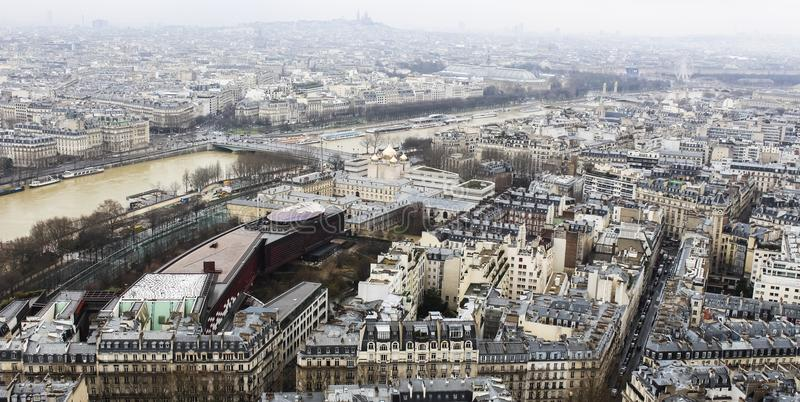 City Paris from above - from the Eiffel Tower - Urban, Sky and buildings stock photos