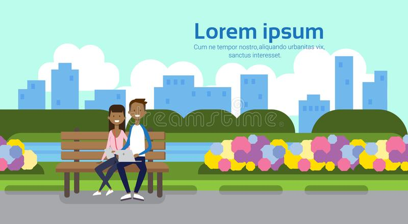 City park african couple man holding laptop woman sitting wooden bench green lawn flowers trees cityscape template. Background copy space horizontal flat vector royalty free illustration