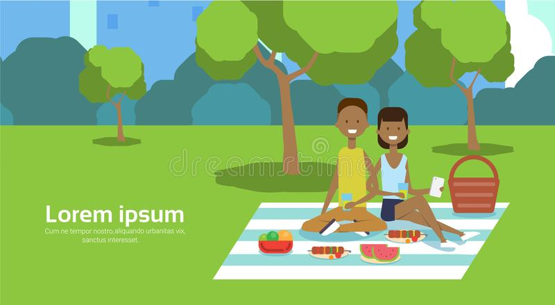 City park african couple sitting picnic eating on green lawn man woman trees cityscape background copy space horizontal. Flat vector illustration vector illustration