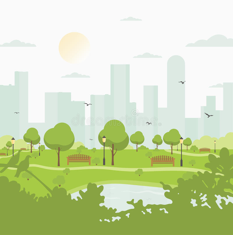 City park against high-rise buildings. Landscape with trees, bushes, lake, birds, lanterns and benches. Colorful vector royalty free illustration