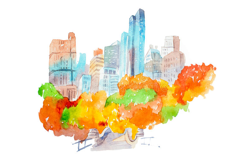 City park in autumn skyscrapers and colorful trees watercolor illustration. stock illustration