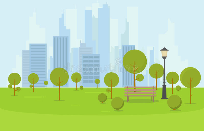 City park bench. City park wooden bench, lawn and trees. Flat style illustration. On background business city center with skyscrapers and large buildings. Green vector illustration