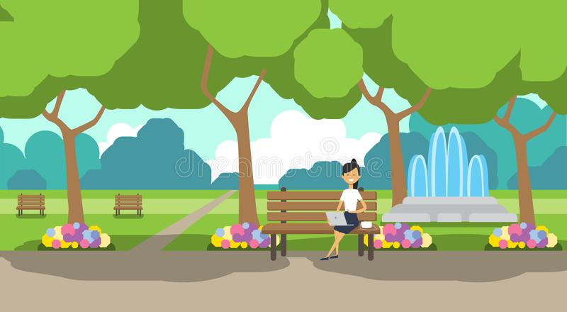 City park businesswoman holding laptopn sitting wooden bench green lawn flowers fountain trees cityscape template. Background horizontal flat vector stock illustration