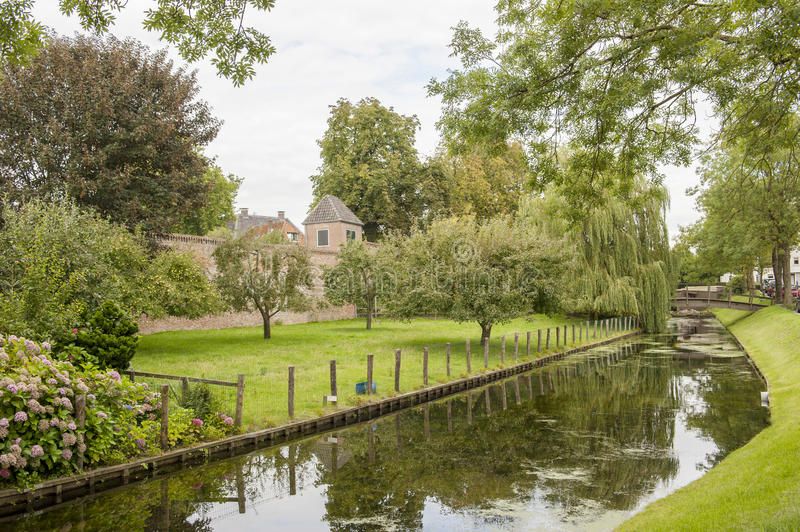 Download City Park With Canal And Town Wall Stock Image - Image: 40919795
