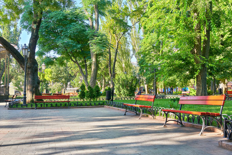City park at center town, summer season, bright sunlight and shadows, beautiful landscape, home and people on street royalty free stock photos
