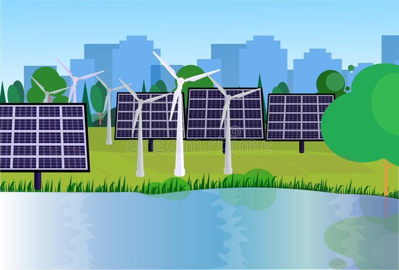 City park clean energy wind turbines solar energy panels river green lawn trees on city buildings template background. Flat vector illustration stock illustration