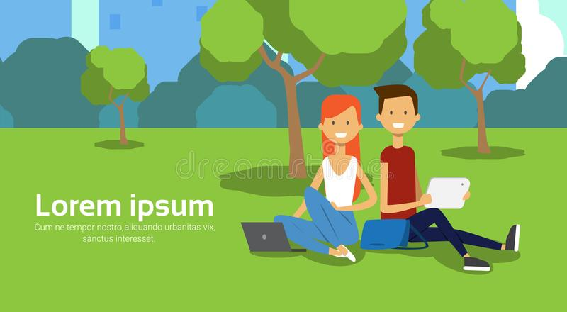 City park couple sitting green lawn using laptop man woman trees cityscape template background copy space horizontal. Flat vector illustration vector illustration