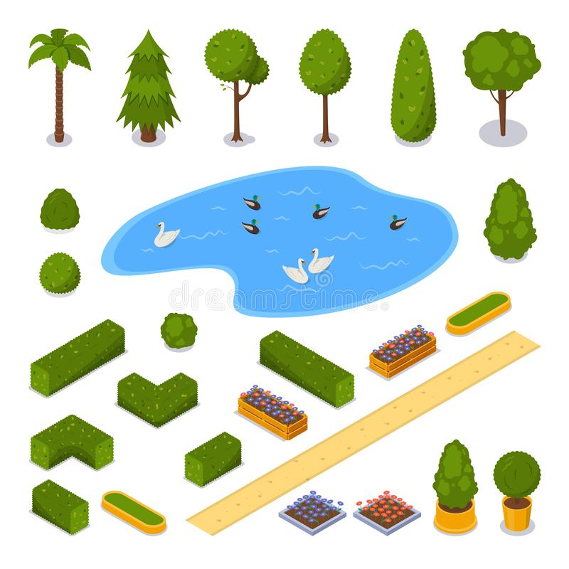 City park 3d isometric icons. Vector landscape design elements. Green garden trees, pond and flower pots, isolated stock illustration