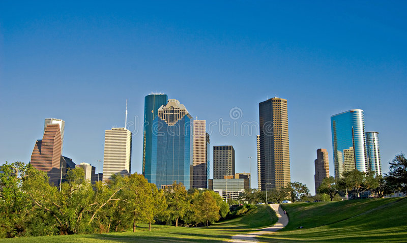 City park with Downtown Skyline royalty free stock image