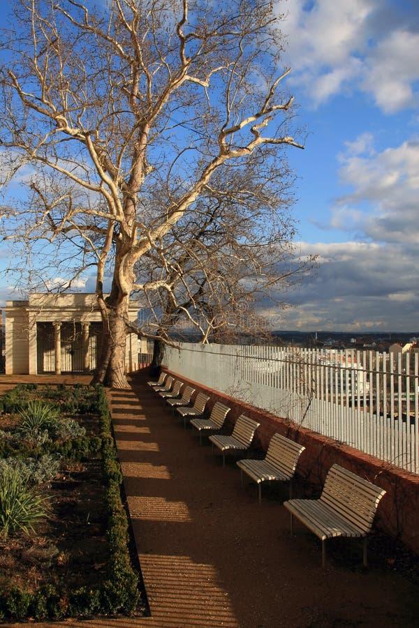 City park with dramatic sky stock photo