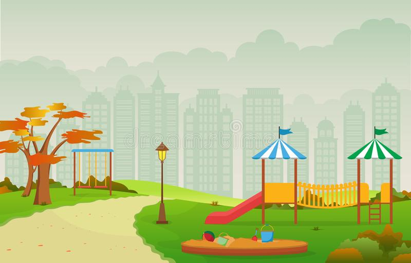 City Park in Fall Autumn with Kid Playground Playing Equipment Illustration vector illustration