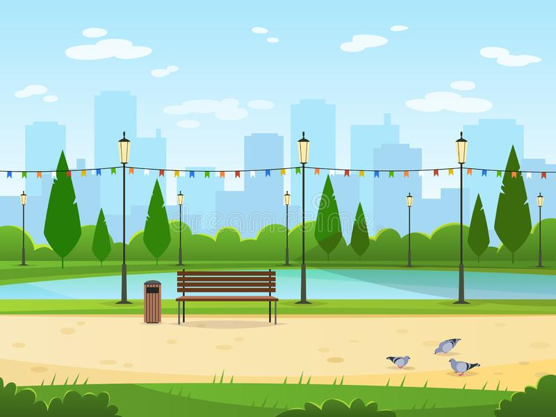 City park. Garden public nature park urban relax landscapes leisure outdoor green wood cityscape cartoon illustration stock illustration