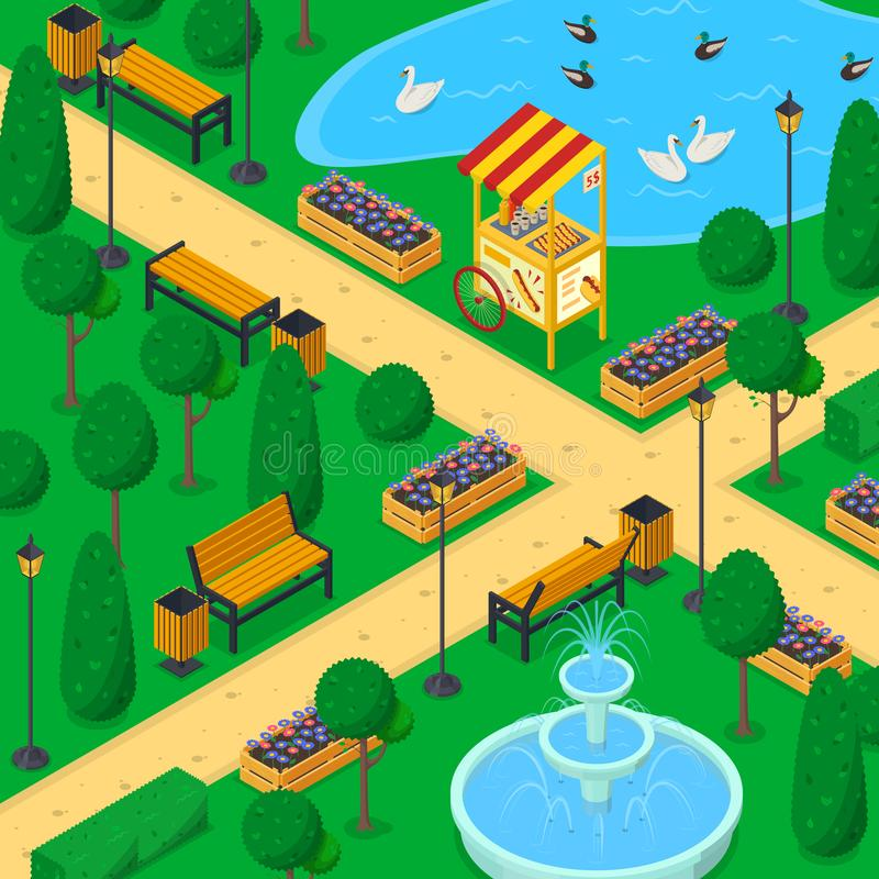 City park landscape, 3d isometric vector illustration. Urban garden alley, benches, trees. Spring or summer background stock illustration