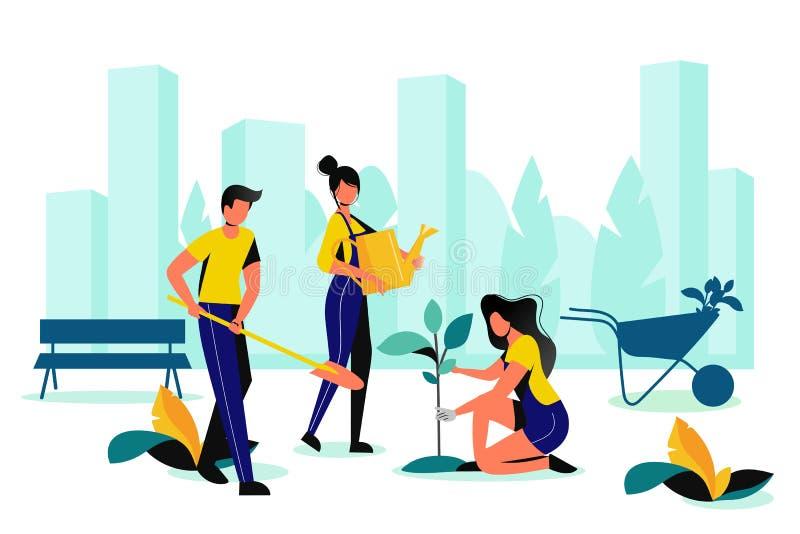 City park landscaping. Spring, summer outdoor works. Team of volunteer planting in town garden. Vector flat illustration stock illustration