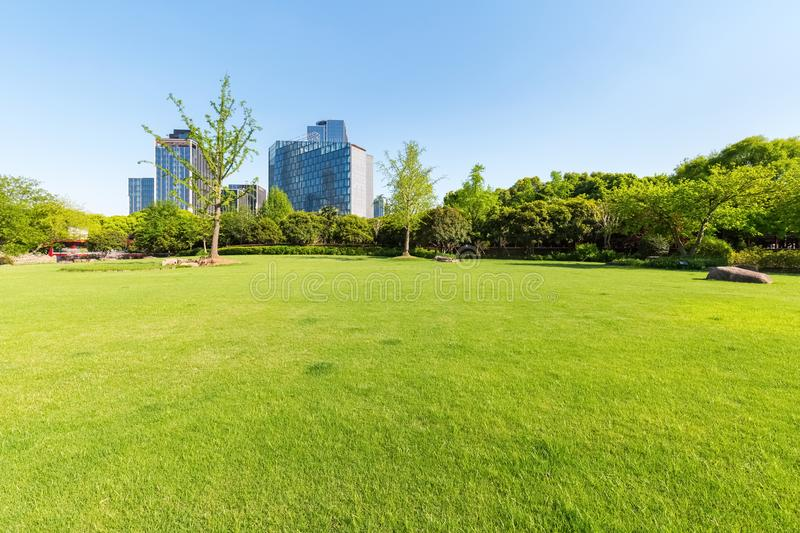 City park lawn stock photography