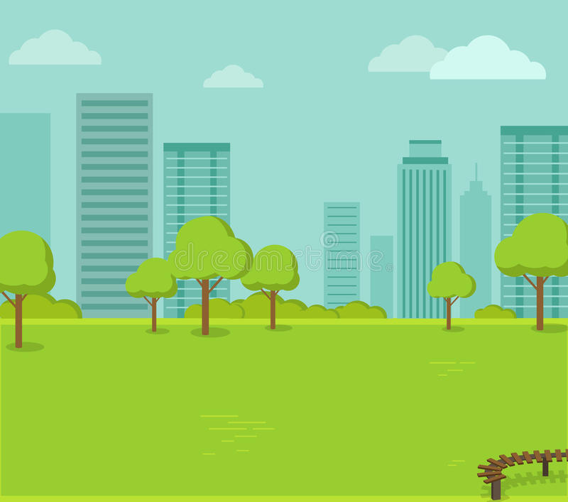 City Park with a Lawn and Trees vector illustration