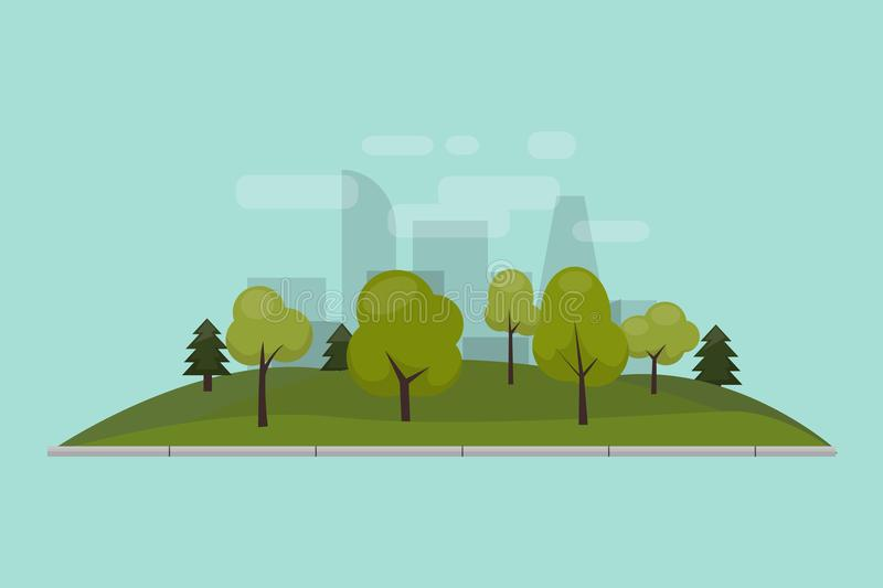 City park, lawn and trees. Vector illustration of an isolated flat style. Green park area in the city center. Against stock illustration