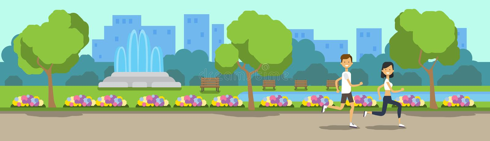 City park man woman activities running green lawn flowers fountain trees cityscape template background banner flat. Vector illustration stock illustration
