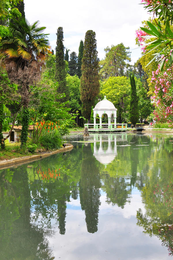 City Park in New Athos july stock photo