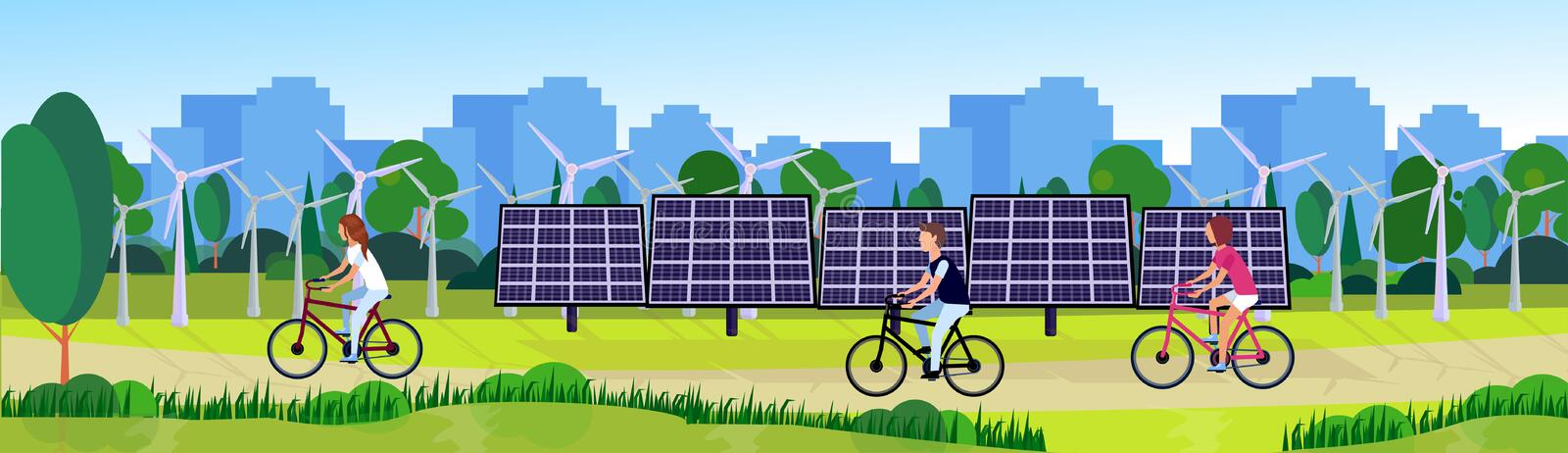 City park people cycling clean energy wind turbines solar energy panels river green lawn trees on city buildings stock illustration