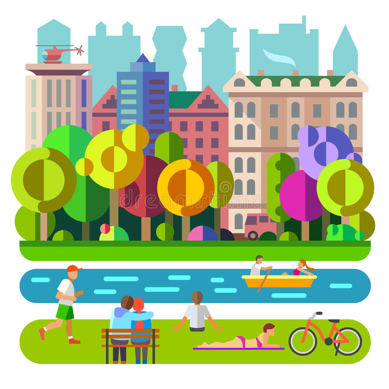 City Park. People and nature stock illustration