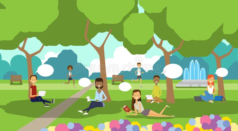 City park relaxing people chat bubbles sitting green lawn using laptop picnic man woman trees landscape background. Horizontal flat vector illustration vector illustration