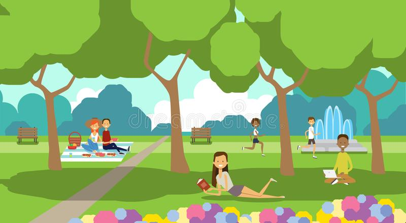 City park relaxing people sitting green lawn using laptop picnic man woman trees landscape background horizontal flat. Vector illustration stock illustration