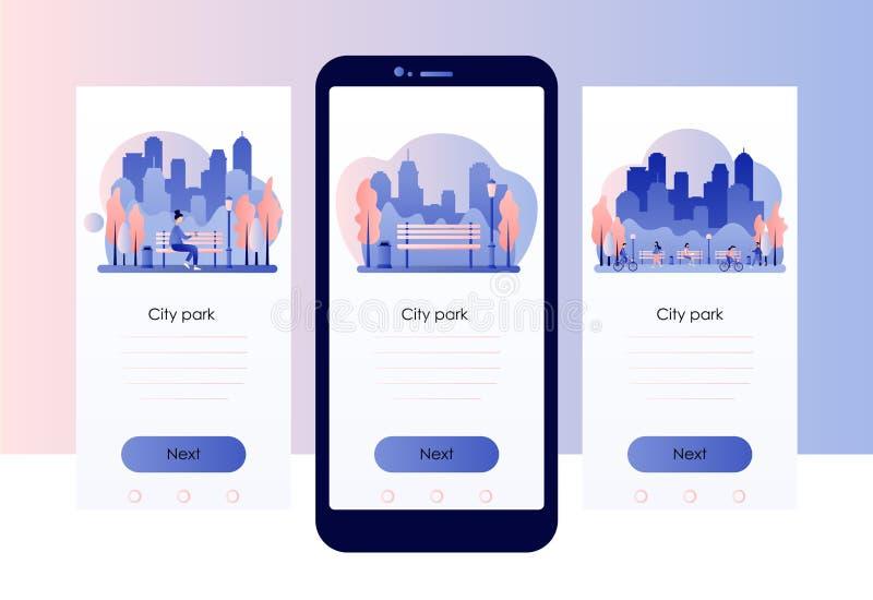 City park. Screen template for mobile smart phone. Flat style. Vector illustration stock illustration
