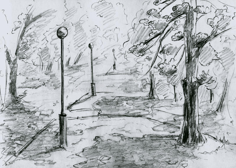 Download City Park, Sketch Stock Photography - Image: 19766032
