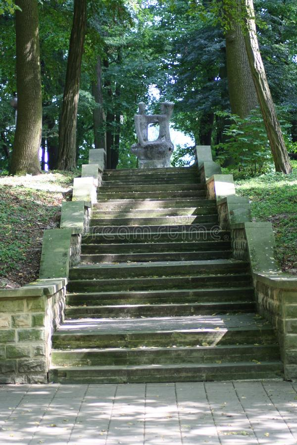 City park and stairs in the sunshine. royalty free stock photography