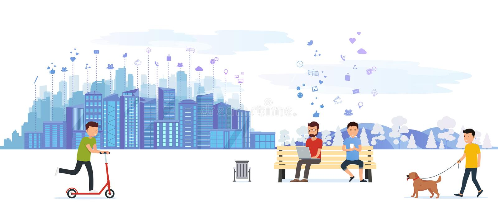 City park with various people having on leisure outdoor activities, driving on a scooter, walking of a dog. stock illustration