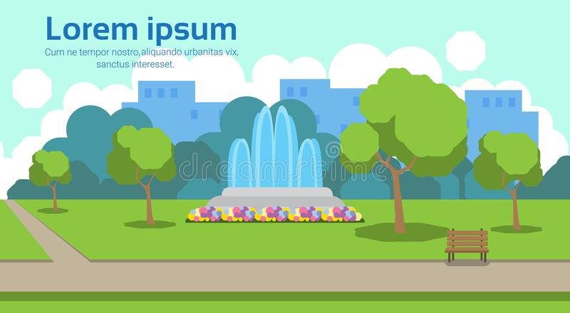 City park view outdoor fountain wooden bench green lawn trees template landscape background horizontal copy space flat. Vector illustration vector illustration