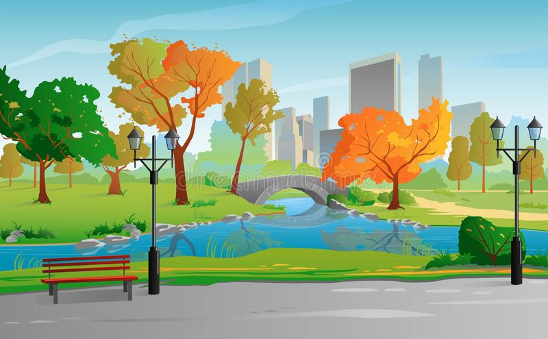 City Park warm sunny day. Autumn landscape stock illustration