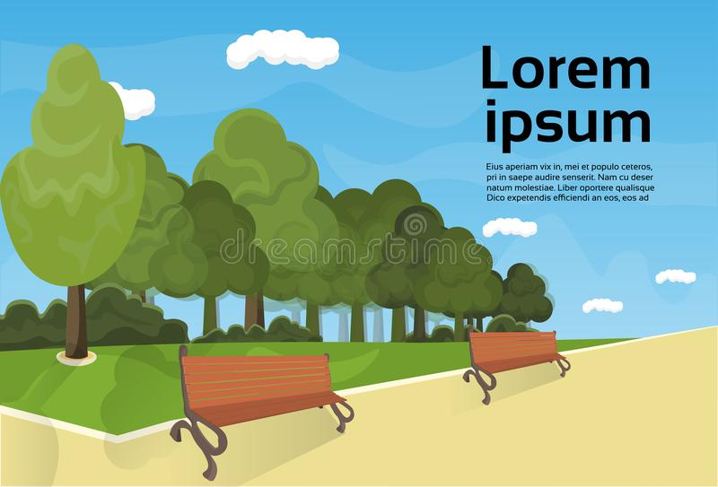 City Park Wooden Bench, Green Lawn And Trees On Template Background royalty free illustration