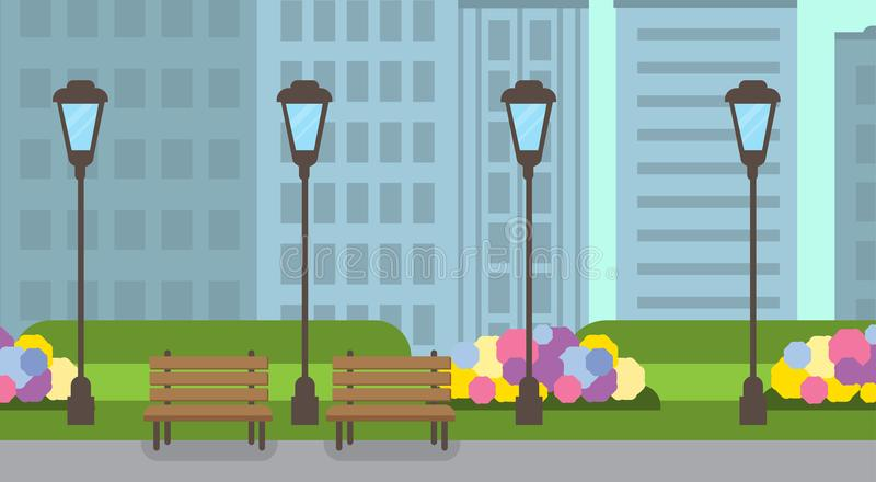 City park wooden bench street lamp green lawn flowers template cityscape background flat banner. Vector illustration vector illustration